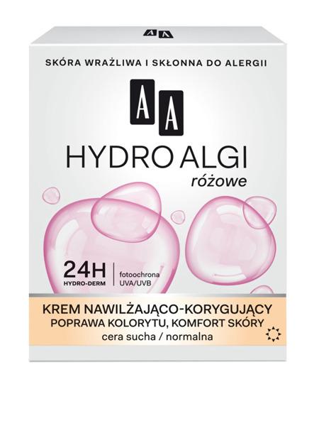 AA HYDRO ALGI różowe Krem nawilżająco-korygujący  cera sucha/normalna  dzień, 50 ml